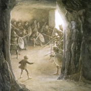 Bilbo en la cueva de los tragos