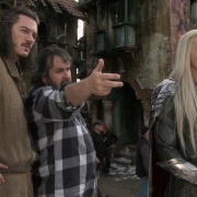 Luke Evans, Peter Jackson y Lee Pace