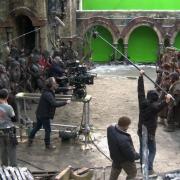 Preparación del rodaje de una escena de batalla