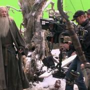 Ian McKellen rodando una escena de batalla