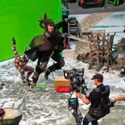 Richard Armitage filma una escena de acción