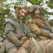 Jed Brophy y James Nesbitt en el rodaje de El Hobbit