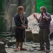 Martin Freeman y Peter Jackson en el decorado de Erebor