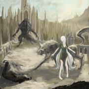 Sauron se enfrenta a Huan, el perro de Valinor