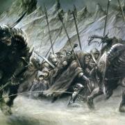 Frodo y Sam con la compañía de Orcos