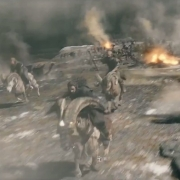 Thorin, Fili, Kili y Dwalin a la carga