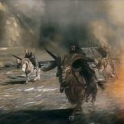 Thorin, Fili, Kili y Dwalin a la carga en carneros