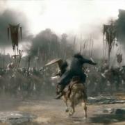 Thorin, Fili y Kili cargan contra los Orcos