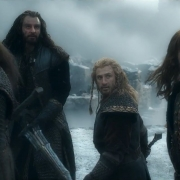 Dwalin, Thorin, Fili y Kili en la Colina del Cuervo