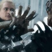 Legolas apuñala a Bolgo en la mano
