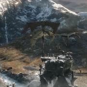 Azog dirige a sus fuerzas desde la Colina del Cuervo