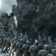 Legolas acaba con un grupo de Orcos
