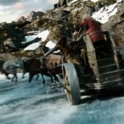 Los Enanos en un carro por el cauce helado del Celduin