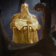 Smaug y la estatua de oro de Thrór