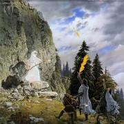Gandalf el Blanco aparece ante Aragorn, Legolas y Gimli