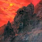 Gollum ataca a Frodo y Sam en el Monte del Desino