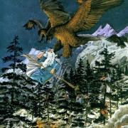Las Águilas rescatan a Gandalf, Bilbo y los Enanos de los Wargos