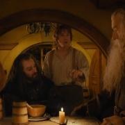 Bofur, Thorin, Bilbo, Gandalf y Dwalin