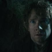 Bilbo, aterrado por Gollum