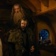 Bilbo, Gandalf, Thorin, Dori y Dwalin
