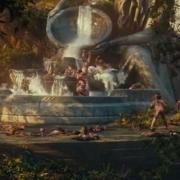 Los Enanos se divierten en una fuente