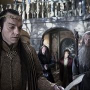 Elrond, Thorin, Bilbo y Gandalf en Rivendel