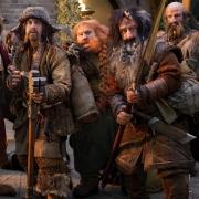 Bilbo, Bofur, Bombur, Bifur y Dwalin en Rivendel